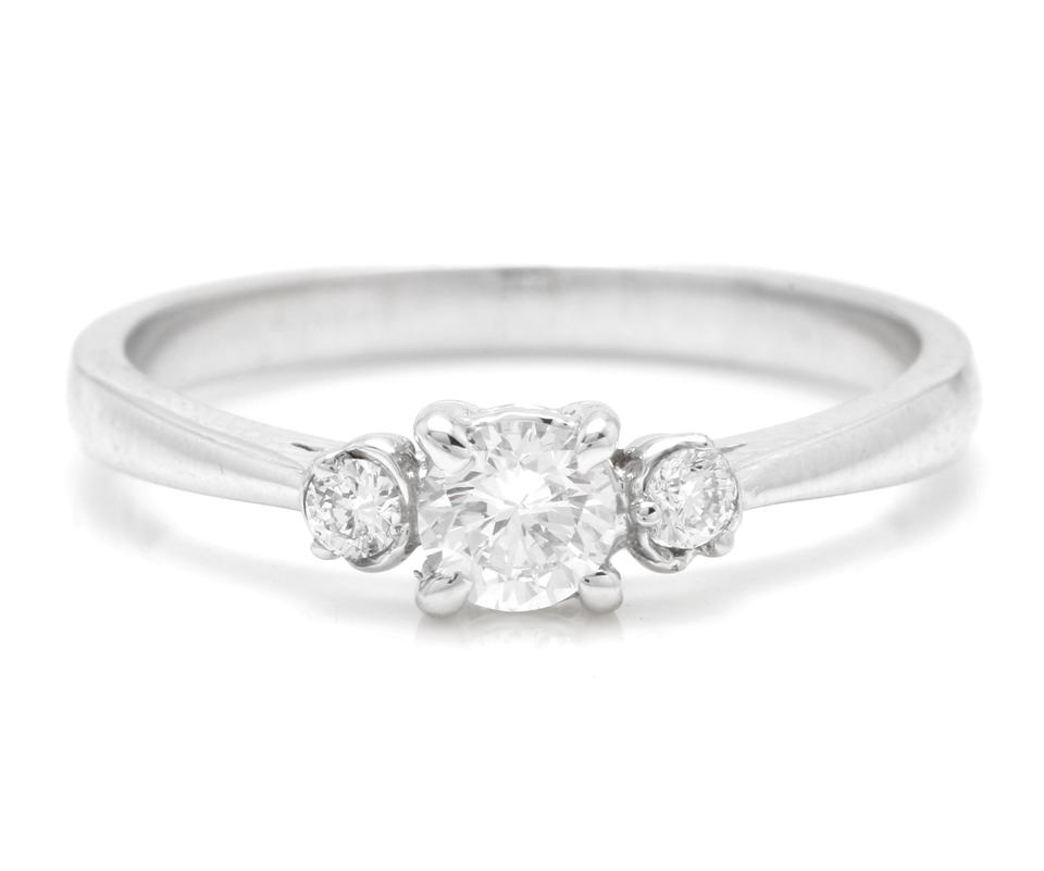 Splendid 0.32 Carats Natural Diamond 14K Solid White Gold Ring