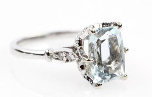 Natural Aquamarine and Diamond 14K White Gold Ring