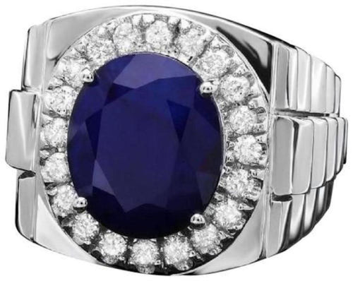8.65 Carats Natural Diamond & Blue Sapphire 14K Solid White Gold Men's Ring