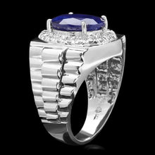 Load image into Gallery viewer, 8.65 Carats Natural Diamond & Blue Sapphire 14K Solid White Gold Men's Ring