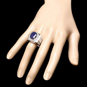 8.70 Carats Natural Diamond & Blue Sapphire 18K Solid White Gold Men's Ring