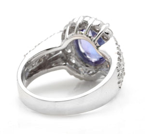4.50 Carats Natural Very Nice Looking Tanzanite and Diamond 18K Solid White Gold Ring