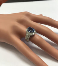 Load image into Gallery viewer, 4.50 Carats Natural Very Nice Looking Tanzanite and Diamond 18K Solid White Gold Ring