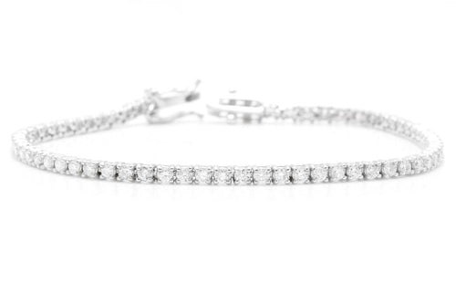Very Impressive 3.00 Carats Natural Diamond 14K Solid White Gold Bracelet