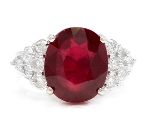 8.90 Carats Impressive Red Ruby and Natural Diamond 18K White Gold Ring