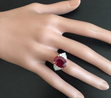 Load image into Gallery viewer, 8.90 Carats Impressive Red Ruby and Natural Diamond 18K White Gold Ring