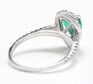 2.20 Carats Natural Colombian Emerald and Diamond 14K Solid White Gold Ring