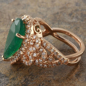 7.00 Carats Natural Emerald and Diamond 14K Solid Rose Gold Ring