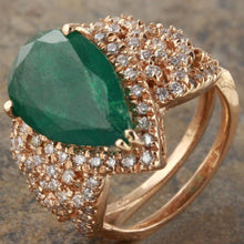 Load image into Gallery viewer, 7.00 Carats Natural Emerald and Diamond 14K Solid Rose Gold Ring