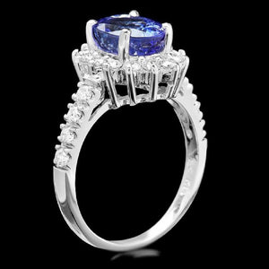 3.50 Carats Natural Very Nice Looking Tanzanite and Diamond 14K Solid White Gold Ring