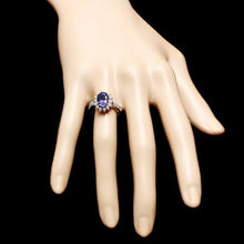 Load image into Gallery viewer, 3.50 Carats Natural Very Nice Looking Tanzanite and Diamond 14K Solid White Gold Ring