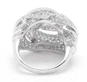 Splendid 3.30 Carats Natural Diamond 14K Solid White Gold Ring