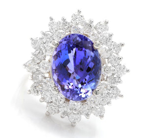 7.30 Carats Natural Very Nice Looking Tanzanite and Diamond 14K Solid White Gold Ring