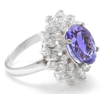 Load image into Gallery viewer, 7.30 Carats Natural Very Nice Looking Tanzanite and Diamond 14K Solid White Gold Ring