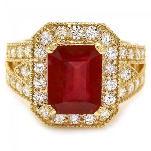 7.25 Carats Impressive Natural Red Ruby and Diamond 14K Yellow Gold Ring