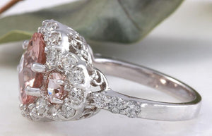 4.90 Carats Exquisite Natural Peach Morganite and Diamond 14K Solid White Gold Ring