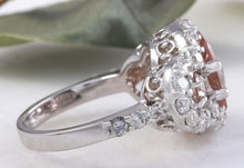 Load image into Gallery viewer, 4.90 Carats Exquisite Natural Peach Morganite and Diamond 14K Solid White Gold Ring