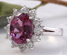 Load image into Gallery viewer, 4.65 Carats Exquisite Natural Pink Tourmaline and Diamond 14K Solid White Gold Ring