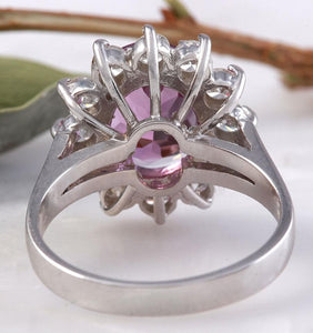 4.65 Carats Exquisite Natural Pink Tourmaline and Diamond 14K Solid White Gold Ring