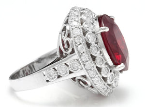 14.80 Carats Impressive Red Ruby and Natural Diamond 14K White Gold Ring
