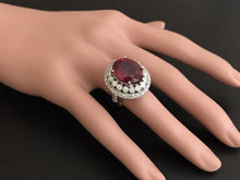 Load image into Gallery viewer, 14.80 Carats Impressive Red Ruby and Natural Diamond 14K White Gold Ring