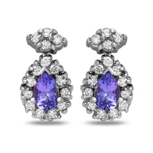 Load image into Gallery viewer, Exquisite 1.75 Carats Natural Tanzanite and Diamond 14K Solid White Gold Stud Earrings