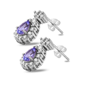 Exquisite 1.75 Carats Natural Tanzanite and Diamond 14K Solid White Gold Stud Earrings