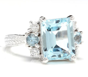 4.80 Carats Natural Aquamarine and Diamond 14K Solid White Gold Ring