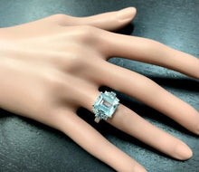 Load image into Gallery viewer, 4.80 Carats Natural Aquamarine and Diamond 14K Solid White Gold Ring