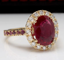 Load image into Gallery viewer, 4.32 Carats Gorgeous Natural Red Ruby and Diamond 14K Solid Yellow Gold Ring