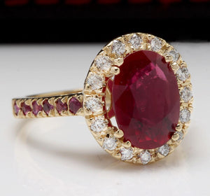 4.32 Carats Gorgeous Natural Red Ruby and Diamond 14K Solid Yellow Gold Ring