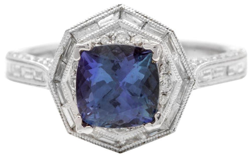 2.35 Carats Natural Very Nice Looking Tanzanite and Diamond 18K Solid White Gold Ring