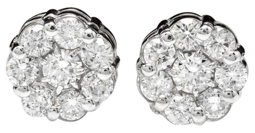 Exquisite 1.50 Carats Natural Diamond 14K Solid White Gold Stud Earrings