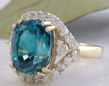 Load image into Gallery viewer, 8.70 Carats Natural Very Nice Looking Blue Zircon and Diamond 14K Yellow Gold Ring