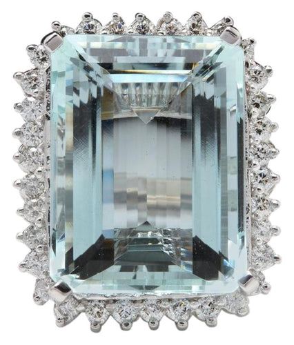 32.00 Carats Natural Aquamarine and Diamond 14K Solid White Gold Ring
