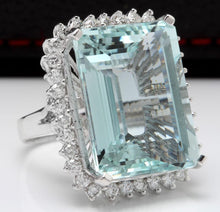 Load image into Gallery viewer, 32.00 Carats Natural Aquamarine and Diamond 14K Solid White Gold Ring