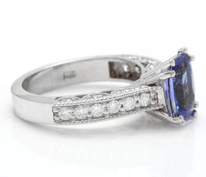 2.80 Carats Natural Very Nice Looking Tanzanite and Diamond 14K Solid White Gold Ring