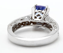 Load image into Gallery viewer, 2.80 Carats Natural Very Nice Looking Tanzanite and Diamond 14K Solid White Gold Ring