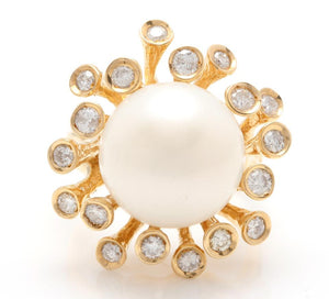 Splendid Natural 15mm South Sea Pearl and Diamond 14K Solid Yellow Gold Ring