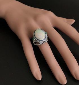 8.00 Carats Natural Impressive Opal, Sapphire, Emerald and Diamond 14K Solid White Gold Ring