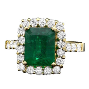 4.30 Carats Natural Emerald and Diamond 14K Solid Yellow Gold Ring