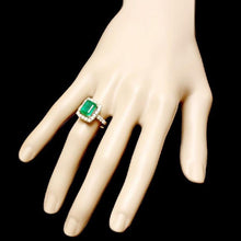 Load image into Gallery viewer, 4.30 Carats Natural Emerald and Diamond 14K Solid Yellow Gold Ring