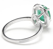 Load image into Gallery viewer, 3.30 Carats Natural Emerald and Diamond 14K Solid White Gold Ring