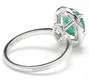 3.30 Carats Natural Emerald and Diamond 14K Solid White Gold Ring