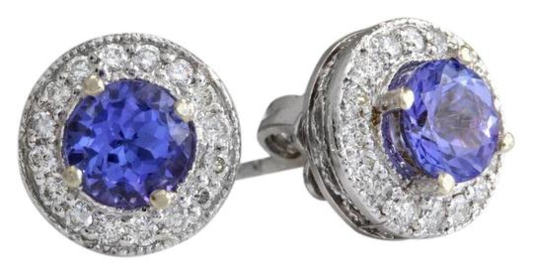 Exquisite 2.45 Carats Natural Tanzanite and Diamond 14K Solid White Gold Stud Earrings