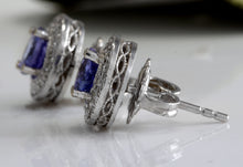 Load image into Gallery viewer, Exquisite 2.45 Carats Natural Tanzanite and Diamond 14K Solid White Gold Stud Earrings