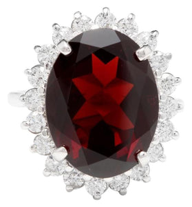 11.05 Carats Impressive Red Garnet and Natural Diamond 14K White Gold Ring