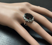 Load image into Gallery viewer, 11.05 Carats Impressive Red Garnet and Natural Diamond 14K White Gold Ring