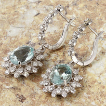 Load image into Gallery viewer, Exquisite 9.60 Carats Natural Aquamarine and Diamond 14K Solid White Gold Earrings