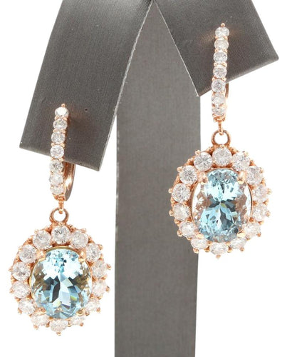 Exquisite 11.00 Carats Natural Aquamarine and Diamond 14K Solid Rose Gold Earrings